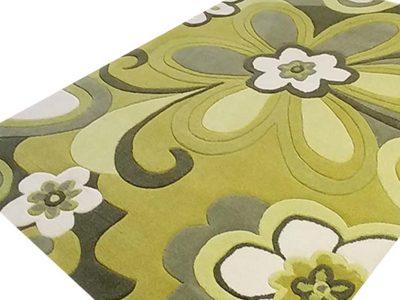 alfombra flores verdes